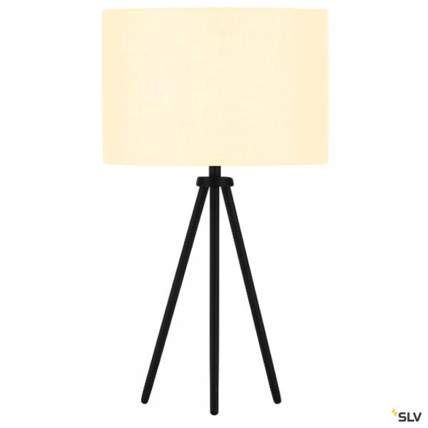SLV 155540 + 155582 Fenda, Tischleuchte, schwarz/weiß, Ø30cm, E27, max.40W