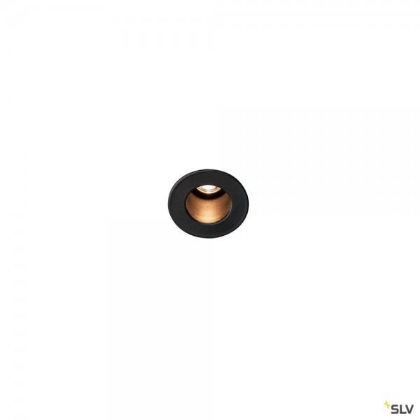 SLV 1000915 Horn Mini, Wand- und Deckeneinbauleuchte, schwarz, LED, 1,2W, 3000K, 70lm