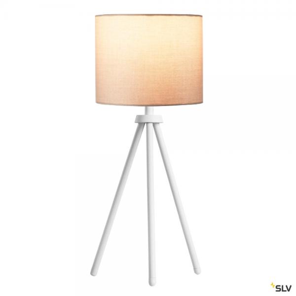 SLV 1003032 + 1001454 Fenda, Tischleuchte, weiß/beige, Ø20cm, E27, max.40W