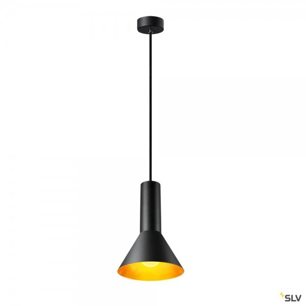 SLV 1002948 Phelia 175, Pendelleuchte, schwarz/gold, E27, max.23W