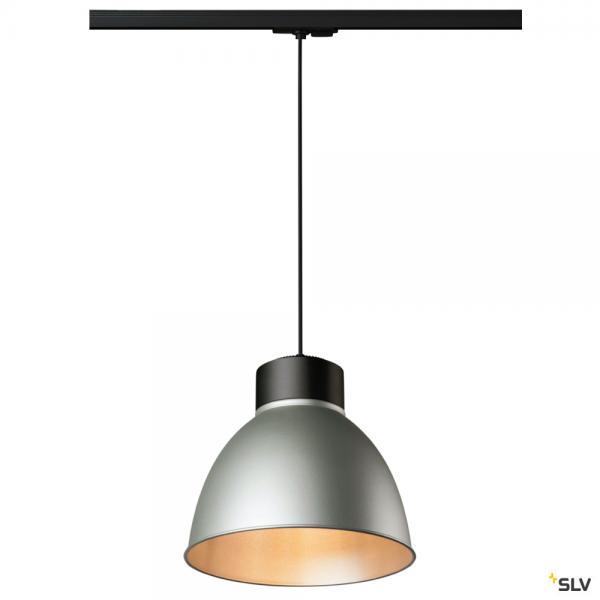 SLV 143120 + 1002053 + 1002058 Para Dome, 1 Phasen, Pendelleuchte, schwarz/silbergrau, E27, max.150W