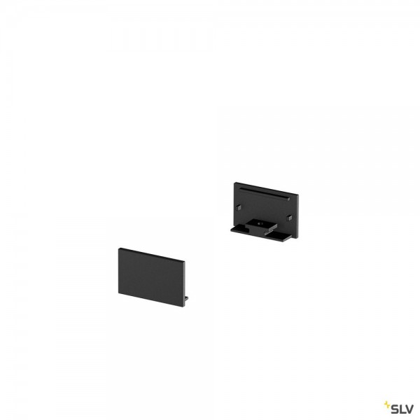 SLV 1000561 Grazia 20, Endkappen, schwarz, flach, 2 Stück