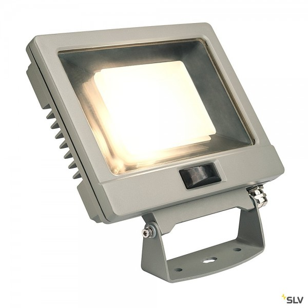 SLV 232884 Spoodi Sensor, Strahler, silbergrau, mit Netzstecker, IP65, LED, 30W, 3000K, 2250lm