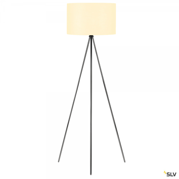 SLV 155492 + 156111 Fenda, Stehleuchte, chrom/weiß, Ø45,5cm, E27, max.40W