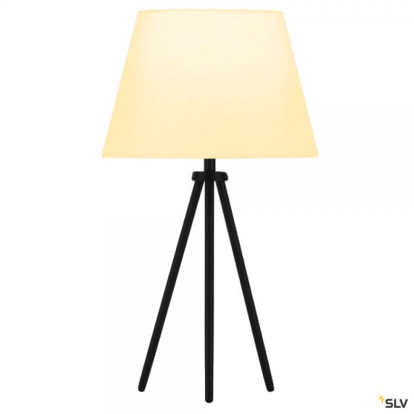 SLV 155540 + 156161 Fenda, Tischleuchte, schwarz/weiß, Ø30cm, E27, max.40W