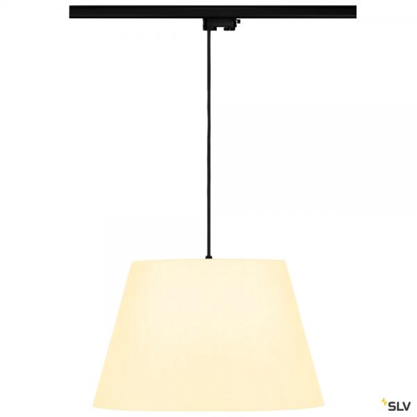 SLV 145990 + 132660 + 156181 Fenda, 3Phasen, Pendelleuchte, schwarz/weiß, Ø45,5cm, E27, max.60W