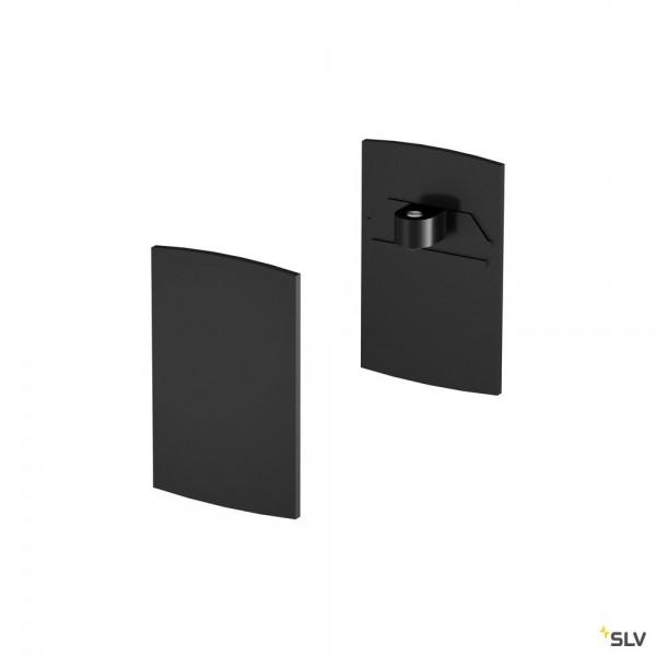 SLV 1001807 Endkappen 2 Stück, schwarz, H-Profil