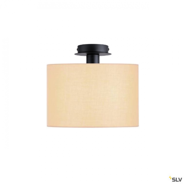 SLV 155550 + 155583 Fenda, Deckenleuchte, schwarz/beige, Ø30cm, E27, max.60W