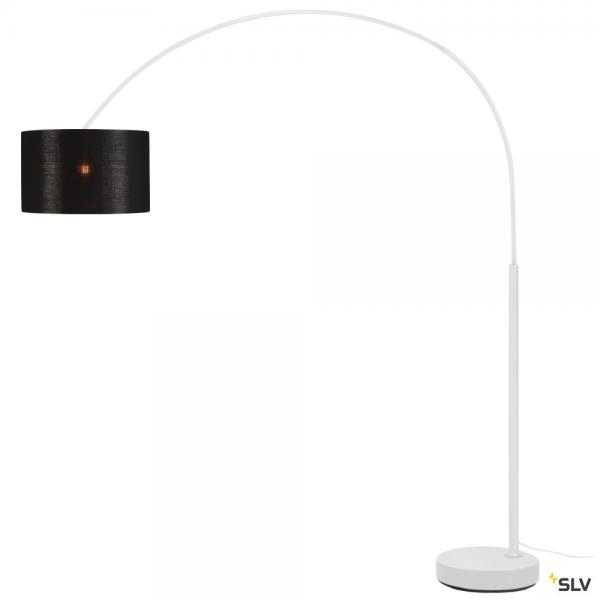 SLV 1003028 + 156122 Fenda Bow, Bogenleuchte, weiß/schwarz/kupfer, Ø45,5cm, E27, max.25W