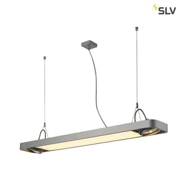 SLV 159134 Aixlight R2 Office, silbergrau, QPAR111, GU10+ LED, max.2x75W, 4000K, 3000lm