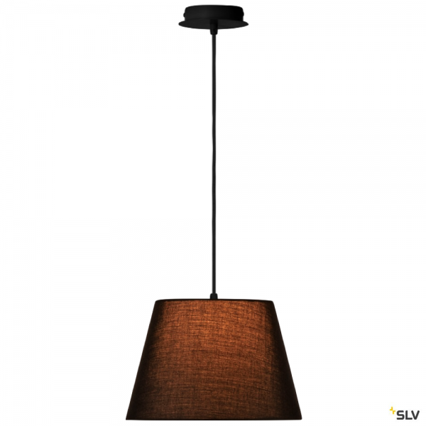 SLV 155560 + 156160 Fenda, Pendelleuchte, schwarz, Ø30cm, E27, max.60W