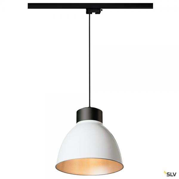 SLV 145990 + 1002053 + 1002057 Para Dome, 3 Phasen, Pendelleuchte, schwarz/weiß, E27, max.150W