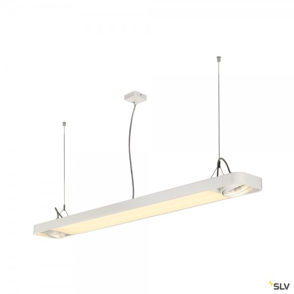 SLV 159141 Aixlight R2 Office, weiß, QPAR111, GU10+ LED, max.2x75W, 4000K, 4100lm