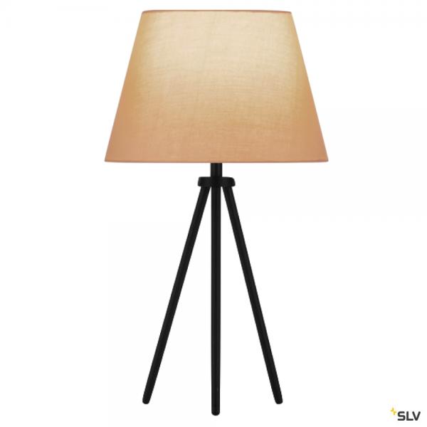 SLV 155540 + 156163 Fenda, Tischleuchte, schwarz/beige, Ø30cm, E27, max.40W