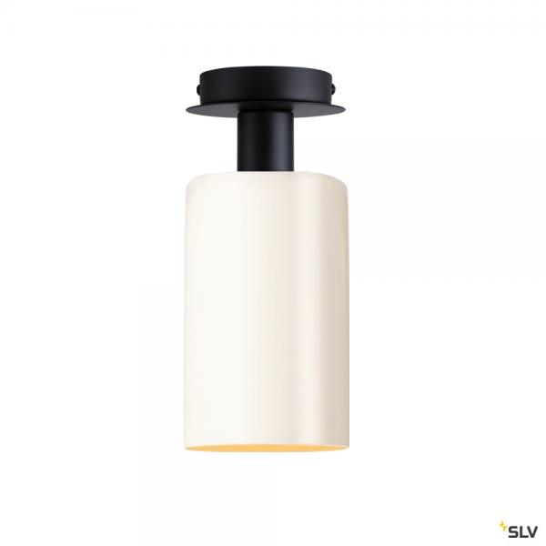 SLV 155550 + 1002217 Fenda, Deckenleuchte, Glas, schwarz/weiß, E27, max.60W