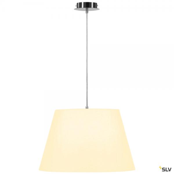 SLV 155562 + 156181 Fenda, Pendelleuchte, chrom/weiß, Ø45,5cm, E27, max.60W