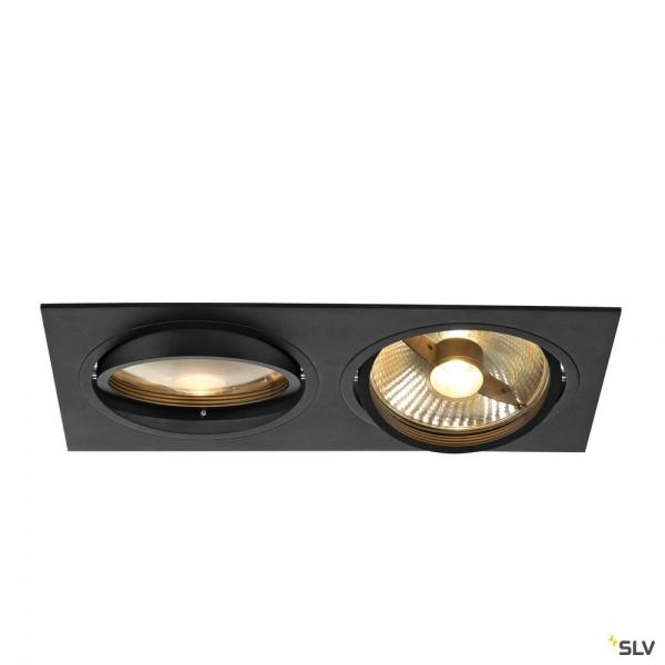 SLV 113840 New Tria 2, Deckeneinbauleuchte, schwarz matt, QPAR111, GU10, max.2x75W