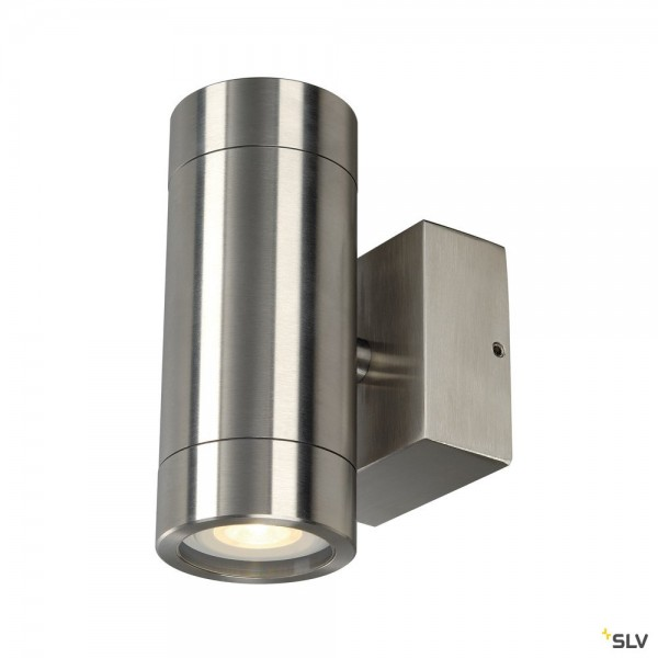 SLV 233302 Astina Steel, Wandleuchte, Edelstahl, up&down, IP44, QPAR51, GU10, max.2x35W