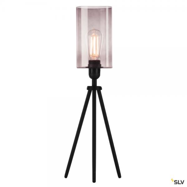 SLV 155540 + 1000773 Fenda, Tischleuchte, schwarz/rauchglas, Ø12,5cm, E27, max.40W