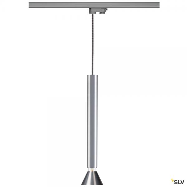 SLV 145994 + 1002161 + 1001957 Fitu, 3 Phasen, Pendelleuchte, silbergrau/aluminium, E27, max.10W