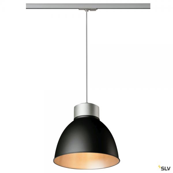 SLV 143124 + 1002055 + 1002056 Para Dome, 1 Phasen, Pendelleuchte, silbergrau/schwarz, E27, max.150W