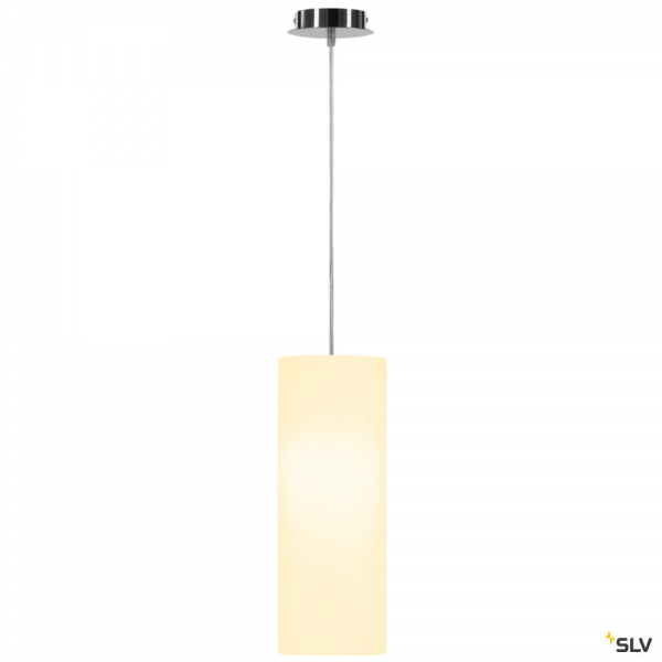 SLV 155562 + 156141 Fenda, Pendelleuchte, chrom/weiß, Ø15cm, E27, max.60W