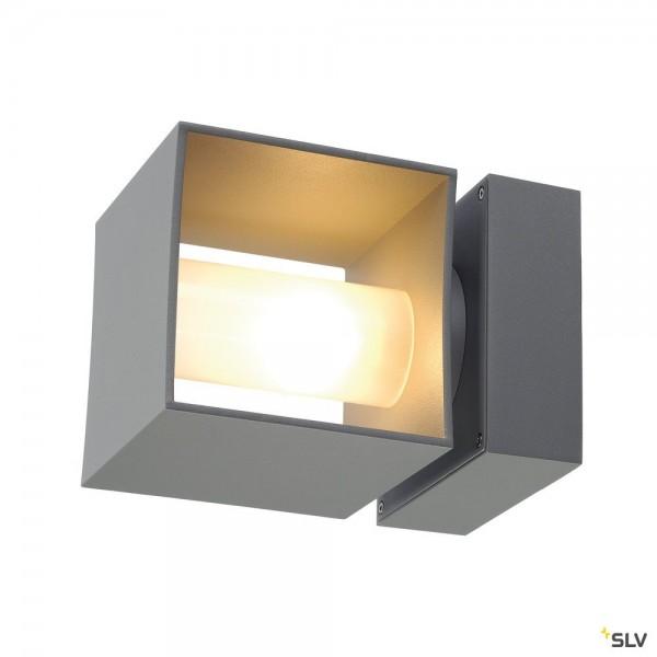 SLV 1000335 Square Turn, Wandleuchte, silbergrau, IP44, G9, max.42W
