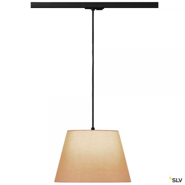 SLV 143120 + 132660 + 156163 Fenda, 1 Phasen, Pendelleuchte, schwarz/beige, Ø30cm, E27, max.60W
